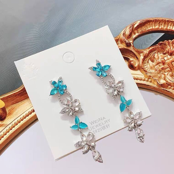White Tanuki Blue Blossom Earrings