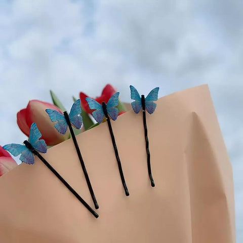 White Tanuki Blue Butterfly Bobby Pin Set