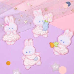 White Tanuki Bunny Days Embroidered Patch