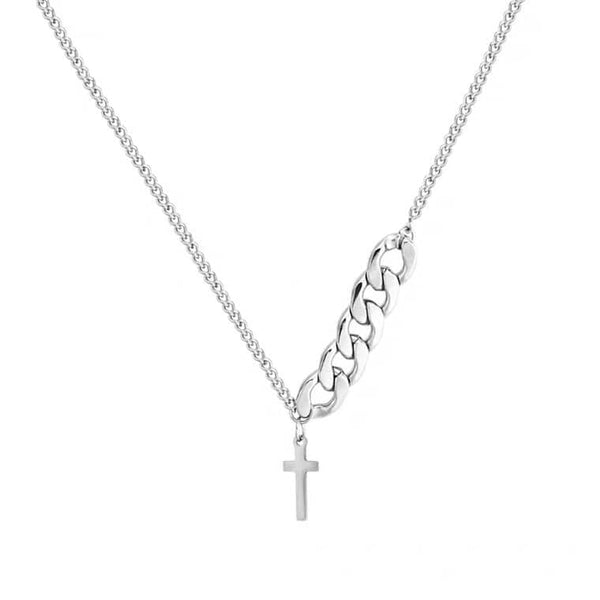 White Tanuki Cross Chain Necklace