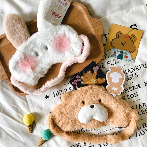 White Tanuki Cute Creatures Sleep Mask