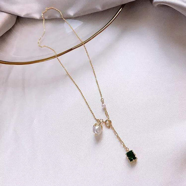 White Tanuki Emerald and Pearl Necklace