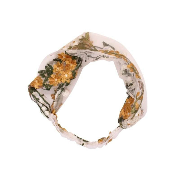 White Tanuki Floral Embroidered Headband