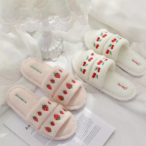White Tanuki Fluffy Fruit Slippers