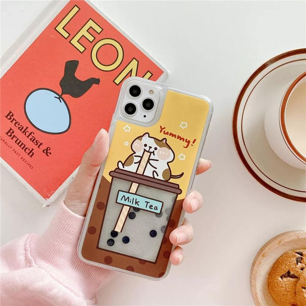 White Tanuki For iPhone 8 / Yellow (Cat) Milk Tea Phone Case