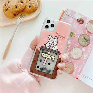 White Tanuki For iPhone XR / Pink (Rabbit) Milk Tea Phone Case