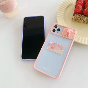 White Tanuki For-iphone11 / Pink Happy Crocodile Phone Case