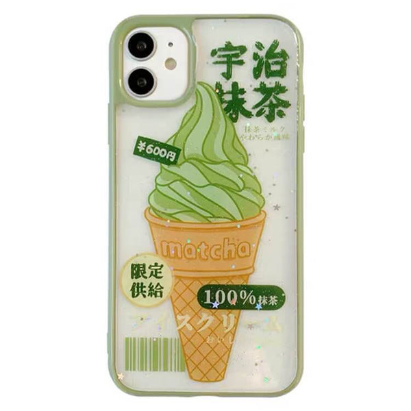 White Tanuki For iphone11ProMax / Green Matcha Ice Cream Phone Case