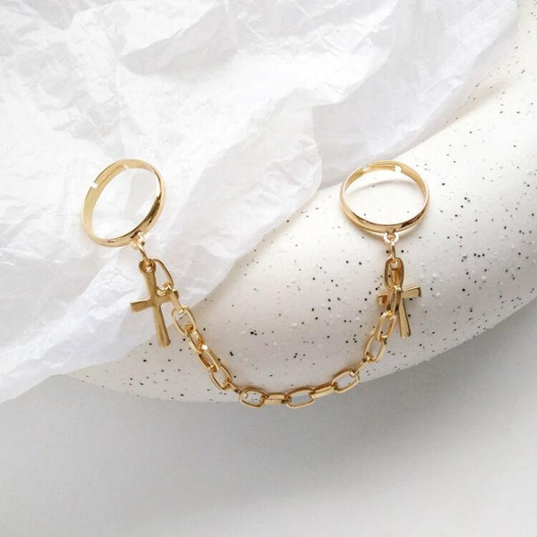 White Tanuki Gold Korean Gold and Silver Chain Rings