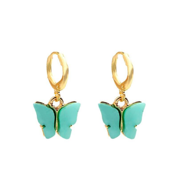 White Tanuki Green Crystal Butterfly Earrings
