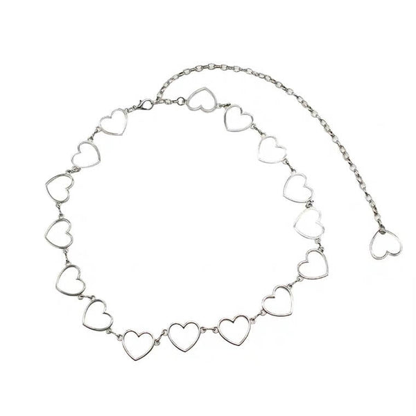 White Tanuki Hearts Chain Belt