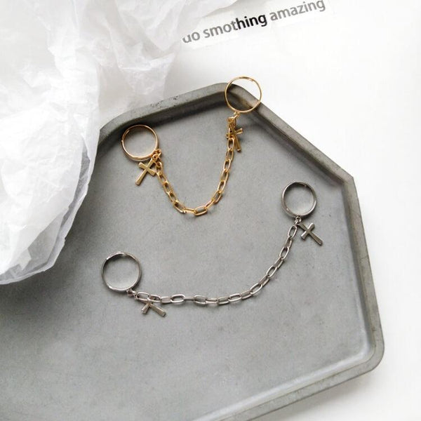 White Tanuki Korean Gold and Silver Chain Rings