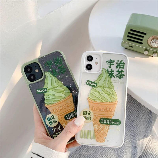 White Tanuki Matcha Ice Cream Phone Case