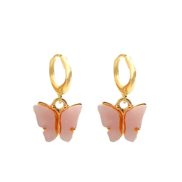 White Tanuki Pink Crystal Butterfly Earrings