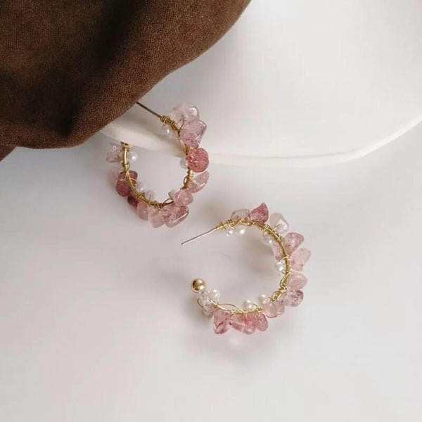 White Tanuki Pink Crystal Earrings