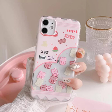 White Tanuki Pink Treats Phone Case