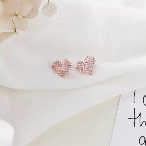 White Tanuki Pixel Hearts Earrings