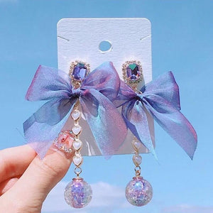 White Tanuki Purple Bow Earrings
