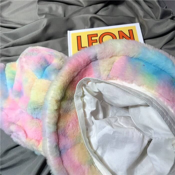 White Tanuki Rainbow Faux Fur Bucket Hat