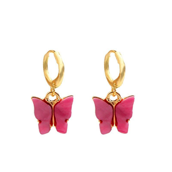 White Tanuki Red Crystal Butterfly Earrings