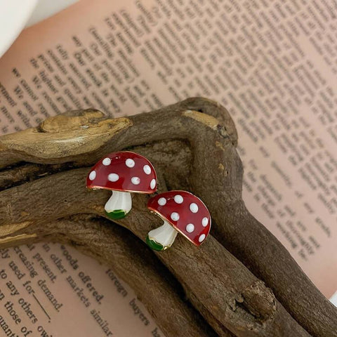 White Tanuki Red Mushroom Earrings