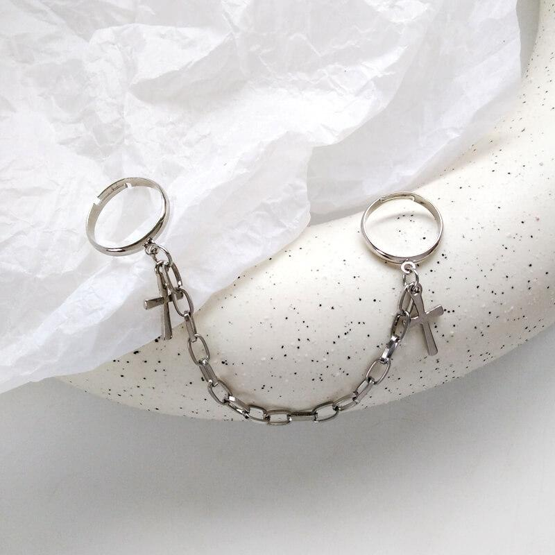 White Tanuki Silver Korean Gold and Silver Chain Rings