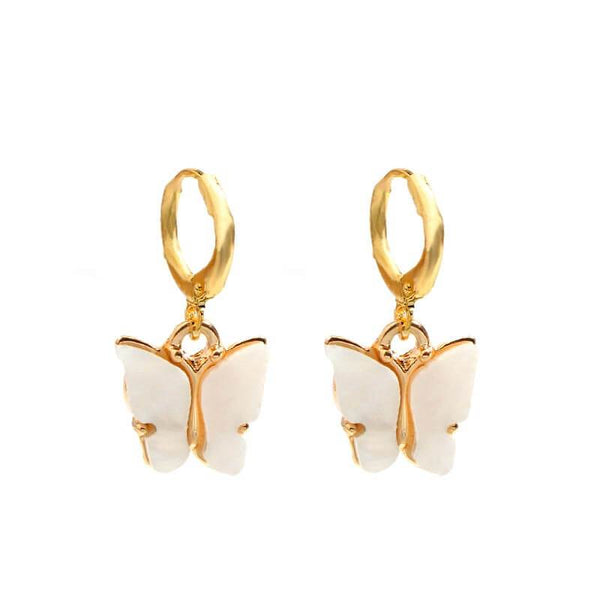 White Tanuki White Crystal Butterfly Earrings
