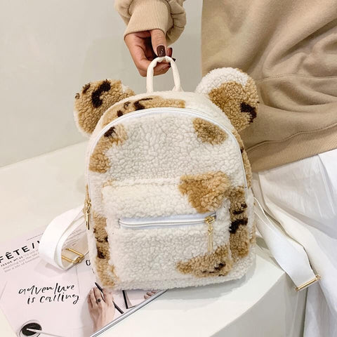 White Tanuki White Teddy Bear Backpack
