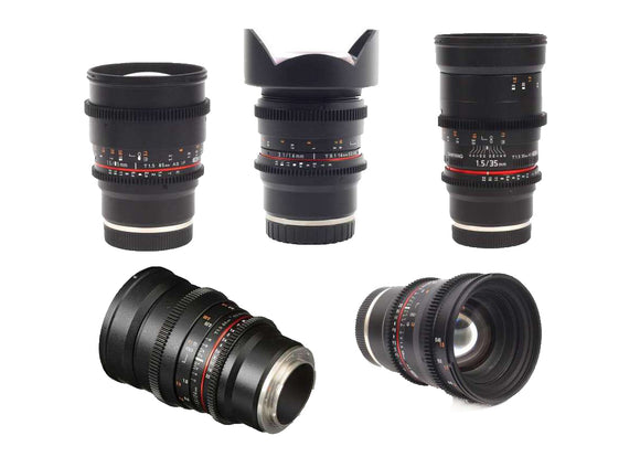 Samyang VDSLR 5 Lens Bundle for Sony E Mount - 14mm T3.1, 24mm T1.5, 35mm T1.5, 50mm T1.5, 85mm T1.5 Lens Prima Photo & Video