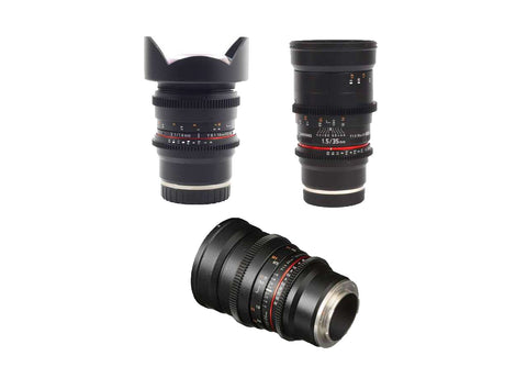 Samyang VDSLR 3 Lens Bundle for Sony E Mount - 14mm T3.1, 24mm T1.5, 35mm T1.5 Lens Prima Photo & Video