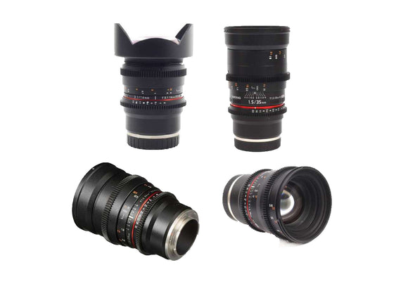 Samyang VDSLR 4 Lens Bundle for Sony E Mount - 14mm T3.1, 24mm T1.5, 35mm T1.5, 50mm T1.5 Lens Prima Photo & Video