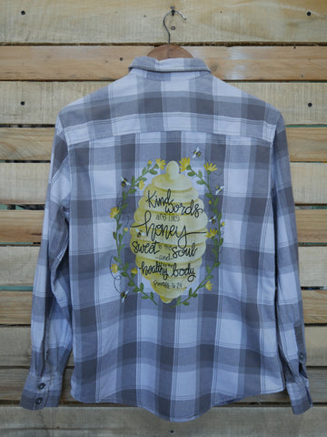 Like Honey Gray and White Flannel - Adult Small