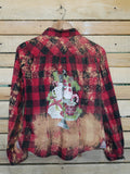 Christmas Tray Bleached Plaid Long Sleeve - Adult Medium