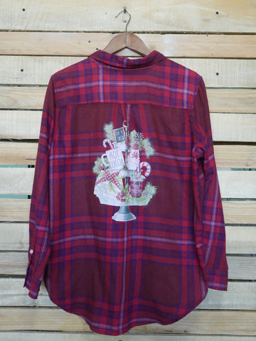 Red & Blue Plaid Christmas Tray Long Sleeve - Adult Large