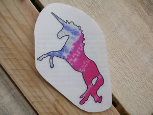 [Photo Description: A unicorn with pink and light purple tie dye.]