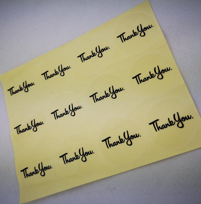 Clear THANK YOU round stickers - see through