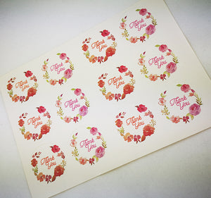 Thank You - Floral Round Stickers