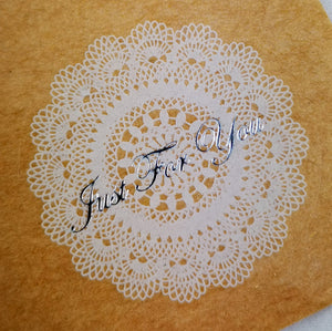 Clear Doily Just for You round stickers - see through with doily pattern