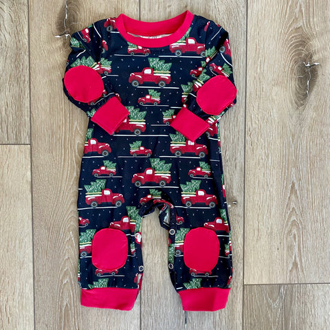VINTAGE TRUCK AND TREE RED ROMPER