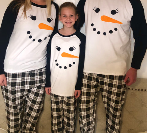SNOWMAN BLACK AND WHITE PLAID FAMILY PAJAMAS