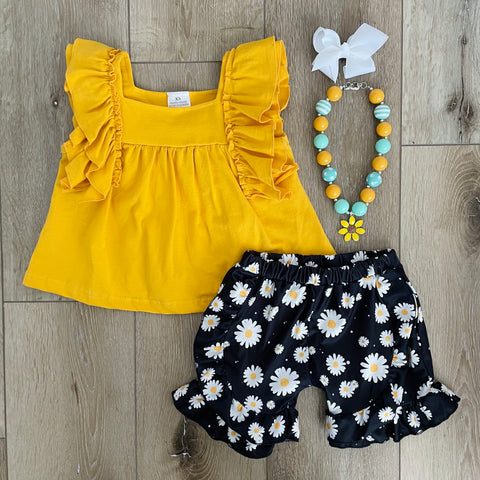 MUSTARD YELLOW DAISY DENIM SHORT SET