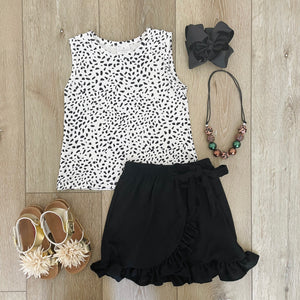 LEOPARD PRINTED BLACK RUFFLE SKIRT SET