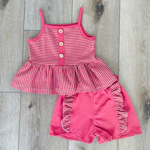 CORAL RUFFLE STRIPE SHORT SET