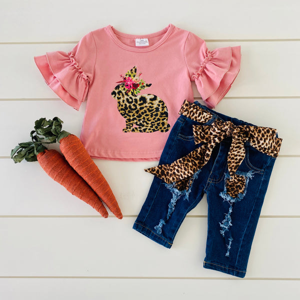 PINK LEOPARD BUNNY AND PANTS