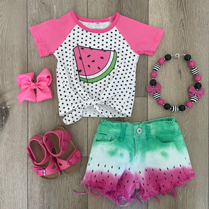 SWEET WATERMELON SEEDS DENIM SHORT SET