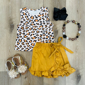 LEOPARD PRINTED TAN RUFFLE SKIRT SET
