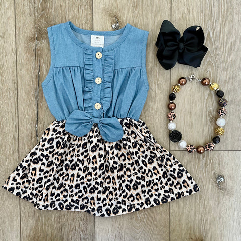 LEOPARD TANK DENIM DRESS