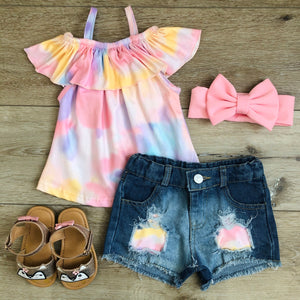 RUFFLE TIE DYE DENIM SHORT SET