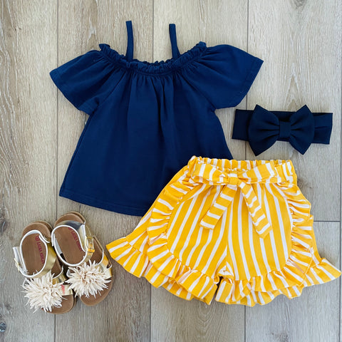 YELLOW STRIPED SUMMER SHORT SET