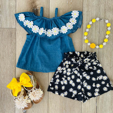 DAISY DENIM SHORT SET